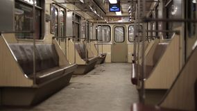Empty subway car stock video footage