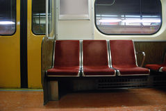 Empty subway seats Royalty Free Stock Photo