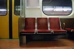 Empty subway seats Royalty Free Stock Photo