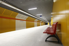 Empty subway station. New yellow empty subway station in bucharest romania royalty free stock photos