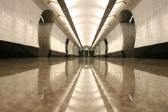 Empty subway station floor. Reflection Royalty Free Stock Images