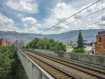 Empty Subway Station and Mountains in Medellin Colombia Stock Photo