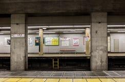 Empty subway station in Tokyo, Japan. Platform in the metro station Kuramae, Asakusa line Royalty Free Stock Images