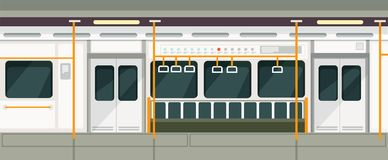 Free Empty Subway Train Inside View. Metro Carriage Vector Interior Stock Images - 111909854