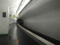 Empty subway tunnel stock photo