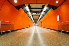 The empty subway tunnels in  HongKong. The empty subway tunnels in China Stock Images