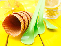 Empty sugar wafer icecream cones Royalty Free Stock Photography