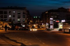 Empty Summer Town At Night - Turkey Stock Image