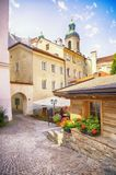 Summer yard in Austrian town Innsbruck Royalty Free Stock Photography