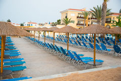 Empty sun beds. At swimming pool Royalty Free Stock Image