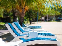 Empty sun lounger Stock Images