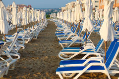Empty sun loungers Stock Photography