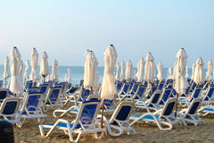 Empty sun loungers Stock Images
