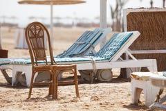 Empty sunbeds Stock Photography