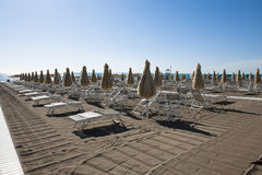 Empty beach chairs Stock Photography