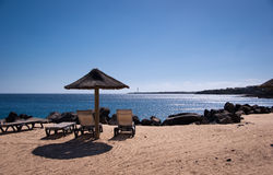 Empty Sunbeds In Playa Blanca Stock Images