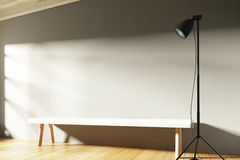 Empty sunny interior with blank wall with copyspace, benches and Stock Images