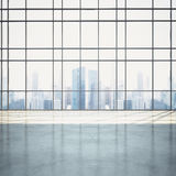 Empty sunny open plan interior with cityscape Stock Photography