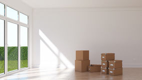Empty sunny room with card boxes Royalty Free Stock Images