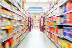 Empty supermarket aisle. Motion Blur stock image