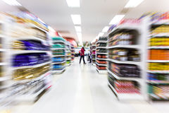 Empty supermarket aisle,motion blur Royalty Free Stock Images