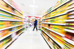 Empty supermarket aisle,motion blur Stock Photo