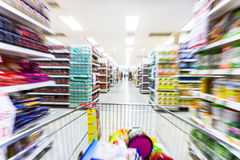 Empty supermarket aisle,motion blur.  Royalty Free Stock Images