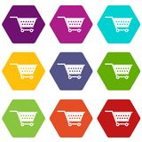 Empty supermarket cart icon set color hexahedron. Empty supermarket cart icon set many color hexahedron isolated on white vector illustration Stock Photography