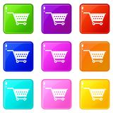 Empty supermarket cart icons 9 set. Empty supermarket cart icons of 9 color set isolated vector illustration Stock Photo