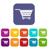 Empty supermarket cart icons set flat. Empty supermarket cart icons set vector illustration in flat style In colors red, blue, green and other Royalty Free Stock Photo