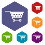 Empty supermarket cart icons set hexagon. Isolated vector illustration Stock Photography