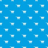 Empty supermarket cart pattern seamless blue. Empty supermarket cart pattern repeat seamless in blue color for any design. Vector geometric illustration Stock Images