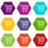 Empty supermarket cart with plastic handles icon set color hexahedron. Empty supermarket cart with plastic handles icon set many color hexahedron isolated on Royalty Free Stock Photo