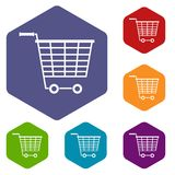 Empty supermarket cart with plastic handles icons. Set hexagon isolated vector illustration Stock Photography