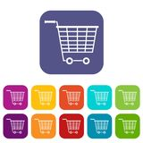 Empty supermarket cart with plastic handles icons. Set vector illustration in flat style In colors red, blue, green and other Stock Photos