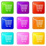 Empty supermarket cart with plastic handles 9 set. Empty supermarket cart with plastic handles icons of 9 color set isolated vector illustration Royalty Free Stock Photography