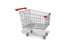 Empty supermarket cart. With red plastic handles Stock Photos