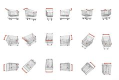 Empty supermarket carts. With red plastic handles, different view, 3D Rendering Stock Image