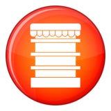Empty supermarket refrigerator icon, flat style Stock Photography