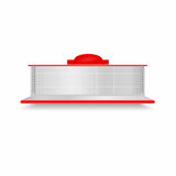 Empty supermarket shelf. Realistic vector showcase with red backlight. Empty supermarket shelf. Realistic showcase with red backlight. Vector Stock Image