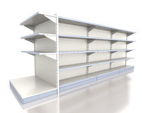 Empty supermarket shelf Stock Images
