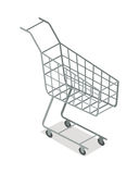 Empty Supermarket Trolley Isometric Vector Icon. Empty shopping trolley isometric projection vector illustration.  Supermarket equipment for goods transportation Stock Photography
