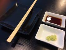 Empty Sushi dish wish seasoning Stock Photos