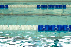 Empty swimming pool with blue and white lane dividers Royalty Free Stock Photos