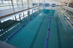 Empty swimming pool with lane markers Stock Images