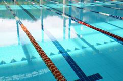 Empty swimming pool and lanes Stock Photo