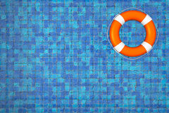 Empty Swimming Pool with Lifebuoy. Top View on a tiles background Royalty Free Stock Photos