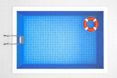 Empty Swimming Pool with Lifebuoy Royalty Free Stock Images