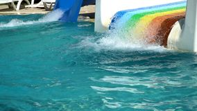 Empty swimming pool with slides stock footage