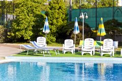 Empty swimming pool in summer day Stock Images